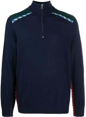 Paul Smith Merino Zip-Neck Sweater