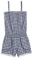 T2 Love Pompom Trim Gingham Romper
