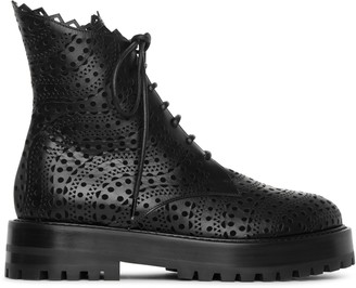 Alaia Vienne black leather flat boots