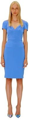 Badgley Mischka V-Neck Cap Sleeve Crepe Dress (Light Blue) Women's Clothing
