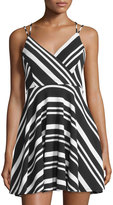 Romeo & Juliet Couture Striped Strappy Sleeveless Dress, Black/White