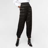 Paul Smith Women's Black Satin-Stripe Trousers With Button-Cuffs