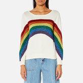 Marc Jacobs Women's Long Sleeve Rainbow Crew Neck Jumper Ivory Multi