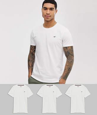 Hollister 3 pack crew neck t-shirt seagull logo in white-Multi