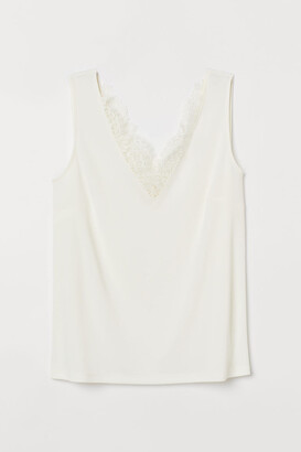 H&M Sleeveless Lace-detail Top - White