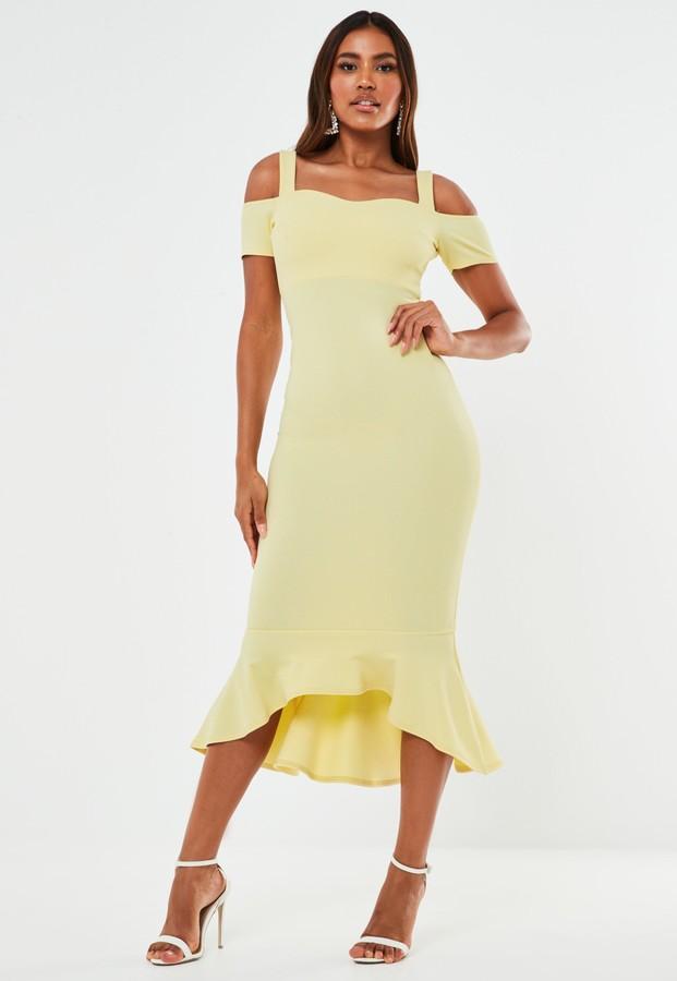 Missguided Yellow Crepe Cold Shoulder Frill Hem Midi Bridesmaid Dress