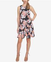 CeCe Garden Bloom Printed Fit and Flare Handkerchief-Hem Dress