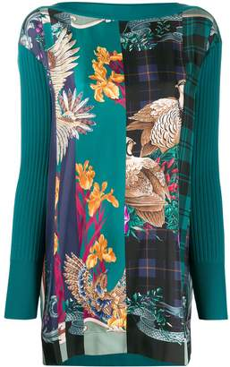 Salvatore Ferragamo Floral Print Contrast Knitted Top