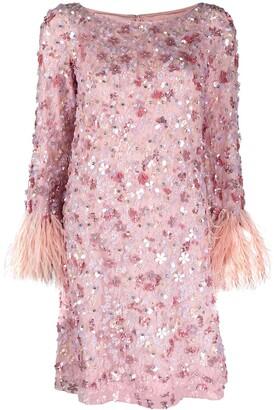 Jenny Packham Floral Sequin-Embellished Short Dress