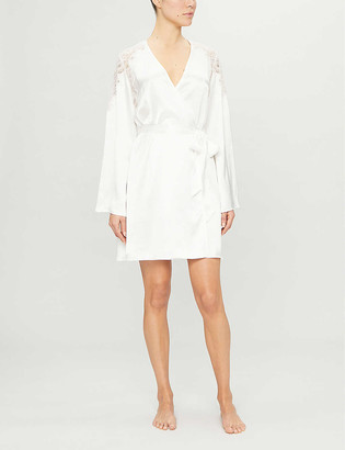 Nk Imode Penelope lace-detail silk-satin dressing gown