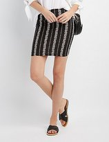 Charlotte Russe Striped Floral Bodycon Mini Skirt