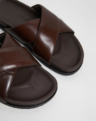 Double Oak Mills System Crossover Leather Slides