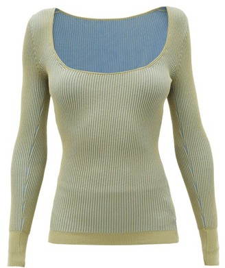 Jacquemus Rosa Scoop-neck Ribbed-jersey Sweater - Womens - Khaki