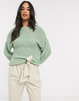 Vila knitted jumper with balloon sleeve in green