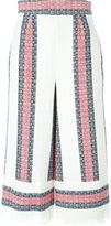Sea striped cropped trousers - women - Cotton/Linen/Flax/Polyester - 4
