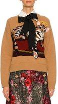Dolce & Gabbana Knit Sweater w/Cat Intarsia, Nude