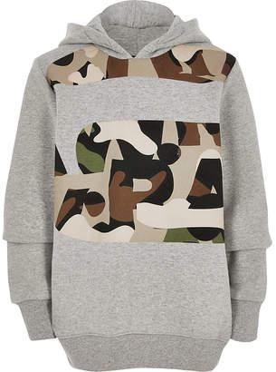 River Island Boys G-Star Raw grey camo print hoodie