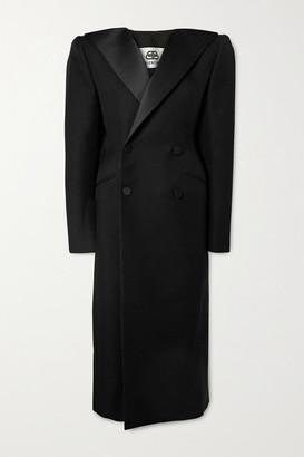 Balenciaga Satin-trimmed Wool-twill Coat - Black