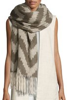 Eileen Fisher Fisher Project Chevron Cashmere Wrap w/ Fringe