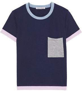 Autumn Cashmere Cotton By Color-block Cashmere Top