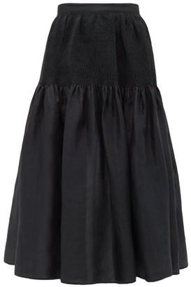 Joseph Carter Smocked Ramie-voile Midi Skirt - Womens - Black