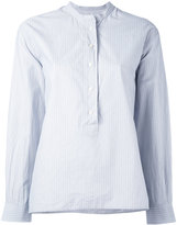 Margaret Howell striped collarless blouse - women - Cotton - S