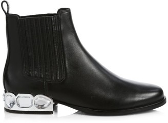 Sophia Webster Bessie Jewel-Heel Leather Chelsea Boots