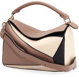 Loewe Puzzle Colorblock Leather Satchel Bag, Hazelnut/Black/Ivory