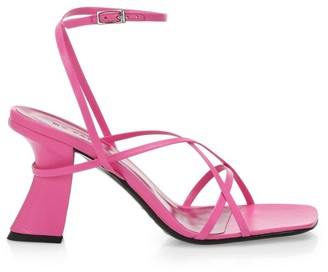 BY FAR Kersti Square-Toe Neon Leather Sandals