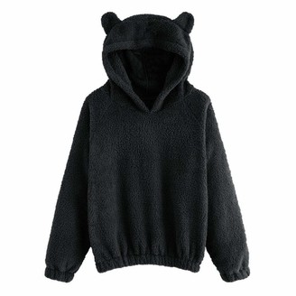 Evansamp Cute Bear Ear Hooded Sweatshirt for Women Teen Girl Winter Warm Fleece Fuzzy Hoodie Sweatshirt Pullover Tops(Black L)