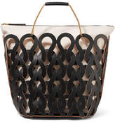 Marni Tricot Woven Leather And Canvas Tote - Black