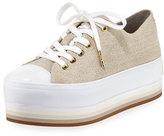 MICHAEL Michael Kors Ronnie Canvas Platform Sneaker, Beige
