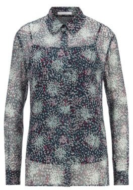 HUGO BOSS Printed silk blouse with crinkle texture