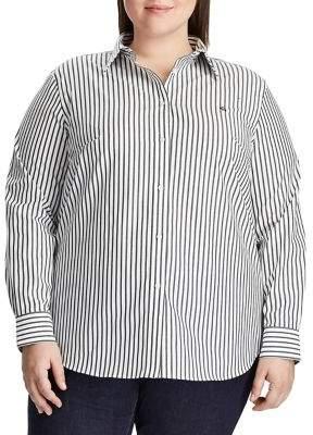 Lauren Ralph Lauren Plus Non-Iron Striped Shirt