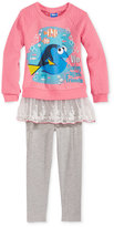 Nannette Disney's Dory 2-Pc. Layered-Look Sweatshirt & Leggings Set, Little Girls (2-6X) & Toddler Girls (2T-5T