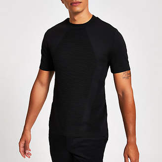 River Island Black ribbed muscle fit knitted T-shirt