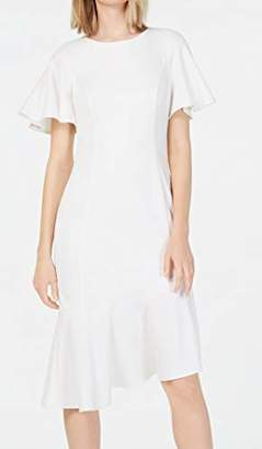 Calvin Klein Women's Short Sleeve Midi with Asymmetrical Hem