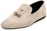 Salvatore Ferragamo Fabio Fabric Slip-On with Tassels, Chalk/Ecru