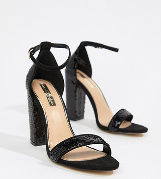Miss Selfridge block heel sequin sandals in black