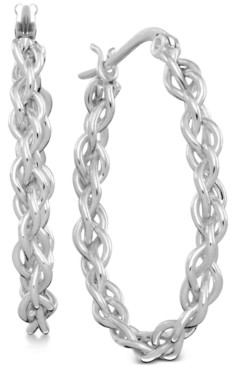 Essentials Twisted Chain Hoop Earrings in Fine Silver-Plate