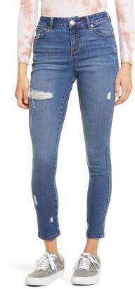 1822 Denim Ripped Organic Cotton Blend High Waist Ankle Skinny Jeans