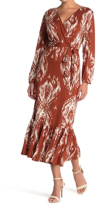 Velvet Torch Waist Tie Flounce Hem Maxi Dress