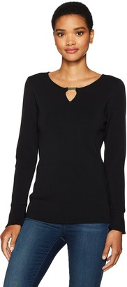 Calvin Klein Women's Flare Sleeve Sweater with Bar Hardware