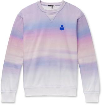 Isabel Marant Miley Logo-Flocked Tie-Dyed Cotton-Blend Jersey Sweatshirt