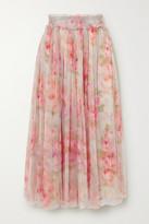Needle & Thread Ruby Bloom Smocked Ruffled Floral-print Tulle Midi Skirt