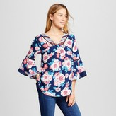 Notations Women's Flutter Sleeve Mixed Floral Printed Blouse