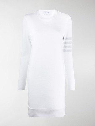 Thom Browne Sweater Dress In Classic Loopback With 4-Bar