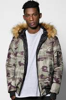 Boohoo Faux Fur Hooded Camo Jacket