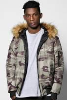 Boohoo Fur Hooded Camo Jacket