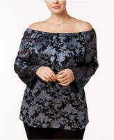 Alfani Plus Size Jacquard On/Off-The-Shoulder Bell-Sleeve Top, Created for Macy's